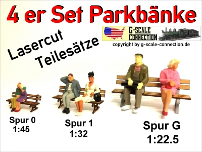 4er Set Parkbank - Bank - Lasercut - Spur 1 - 1:32